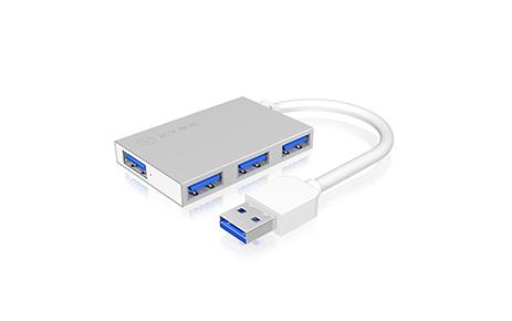 4-fach USB 3.0 Hub in edlem Aluminium-Gehäuse
